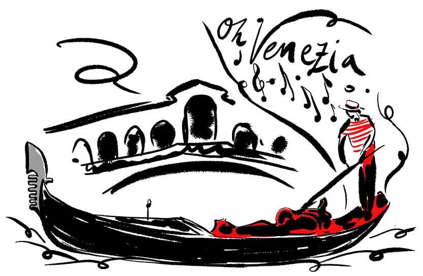 Cartolina Venezia disegno