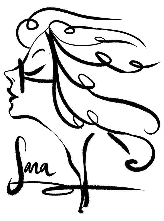 Fumetto donna con capelli al vento