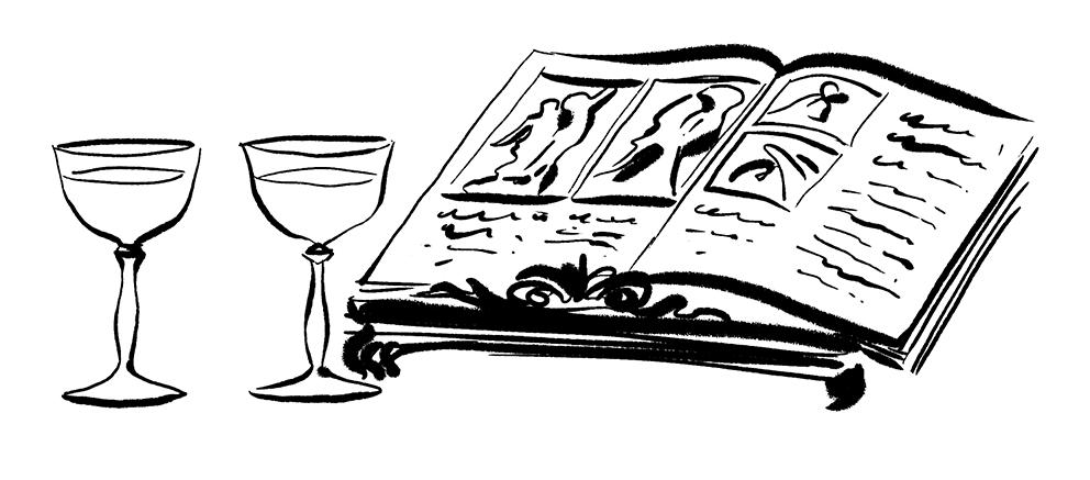 Bicchieri di Liquore e Libro