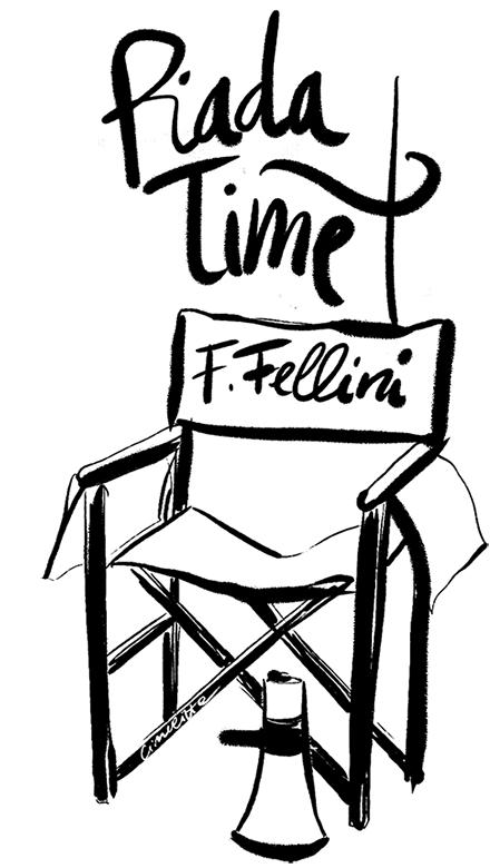 Fellini regista sedia