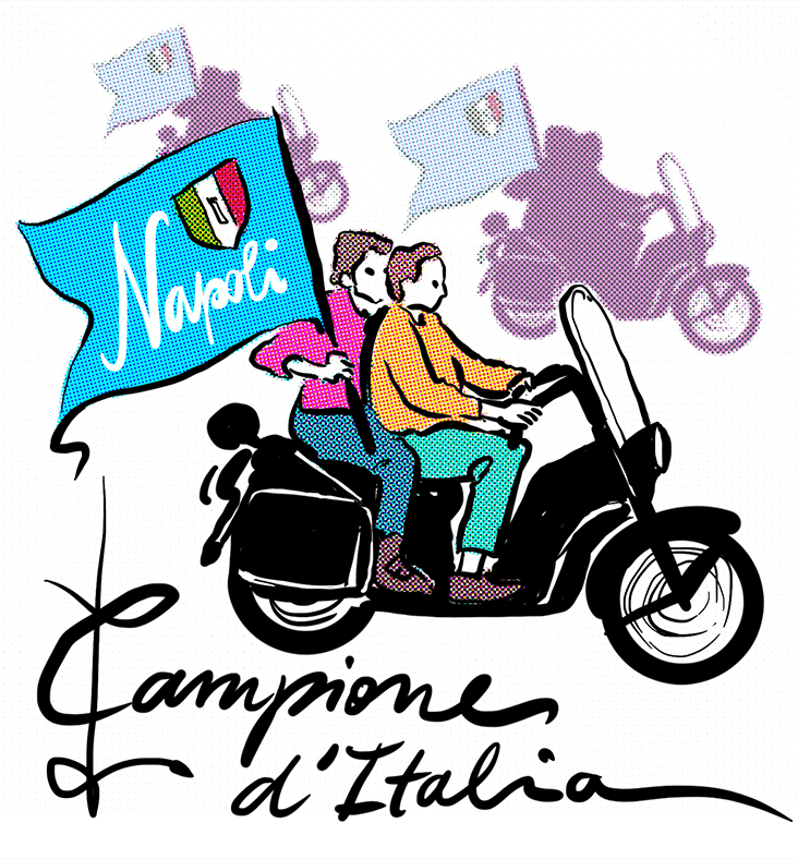 Napoli scudetto 1986 tifosi bandiera in motorino
