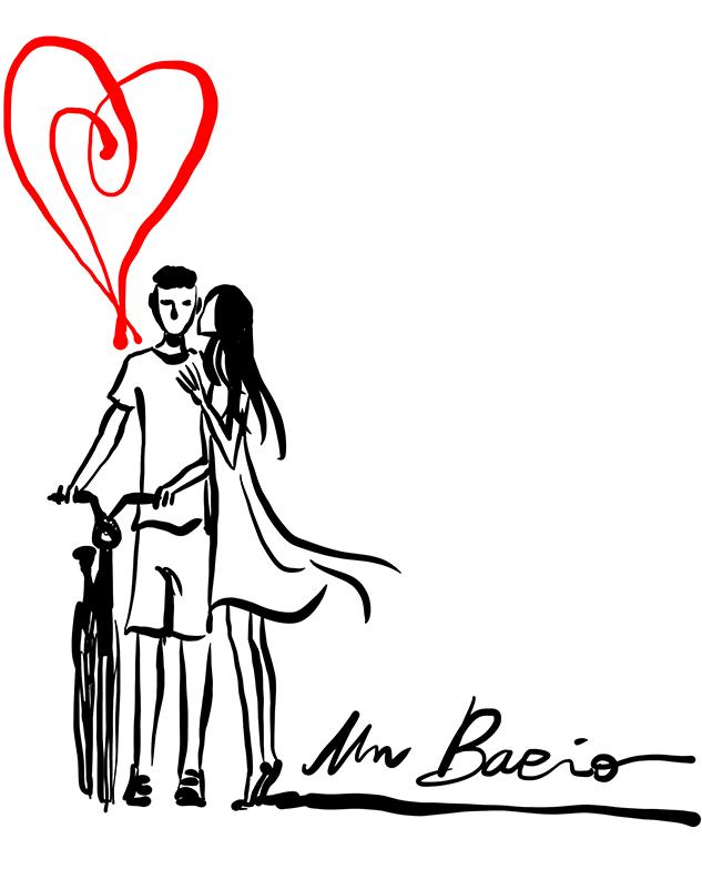 Coppia bicicletta bacio