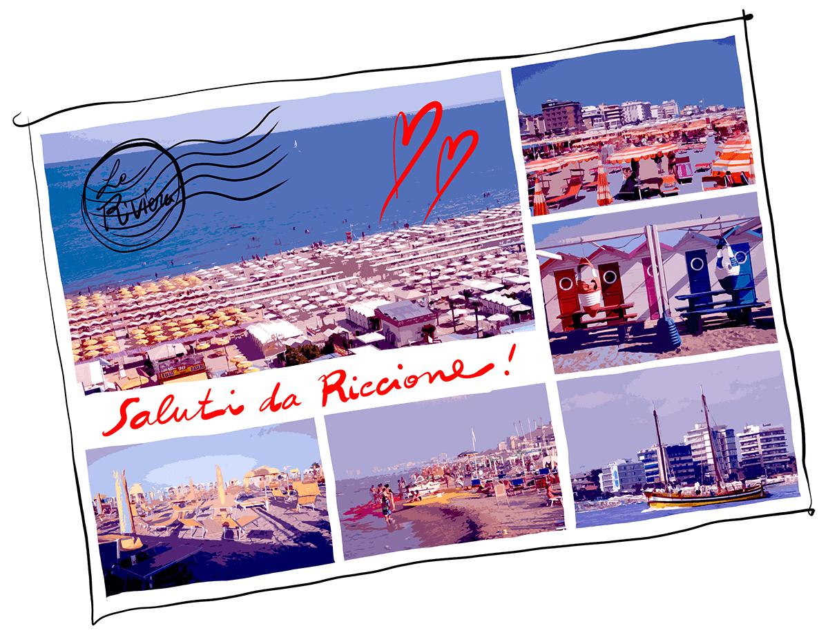 Saluti da Riccione cartolina vintage