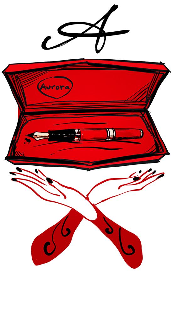 Penna stilografica rossa nel cofanetto